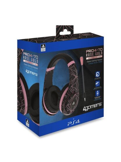 4Gamers PRO70 PS4 Gaming Headset Rose Gold Edition - Abstract Black - Headset - Sony PlayStation 4