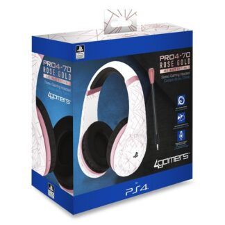 4Gamers PRO70 PS4 Gaming Headset Rose Gold Edition - Abstract White - Headset - Sony PlayStation 4